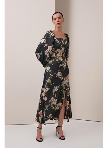 Gusto Çiçek Desenli Uzun Abiye Elbise - Siyah Çiçek Desenli Uzun Abiye Elbise - Siyah Siyah